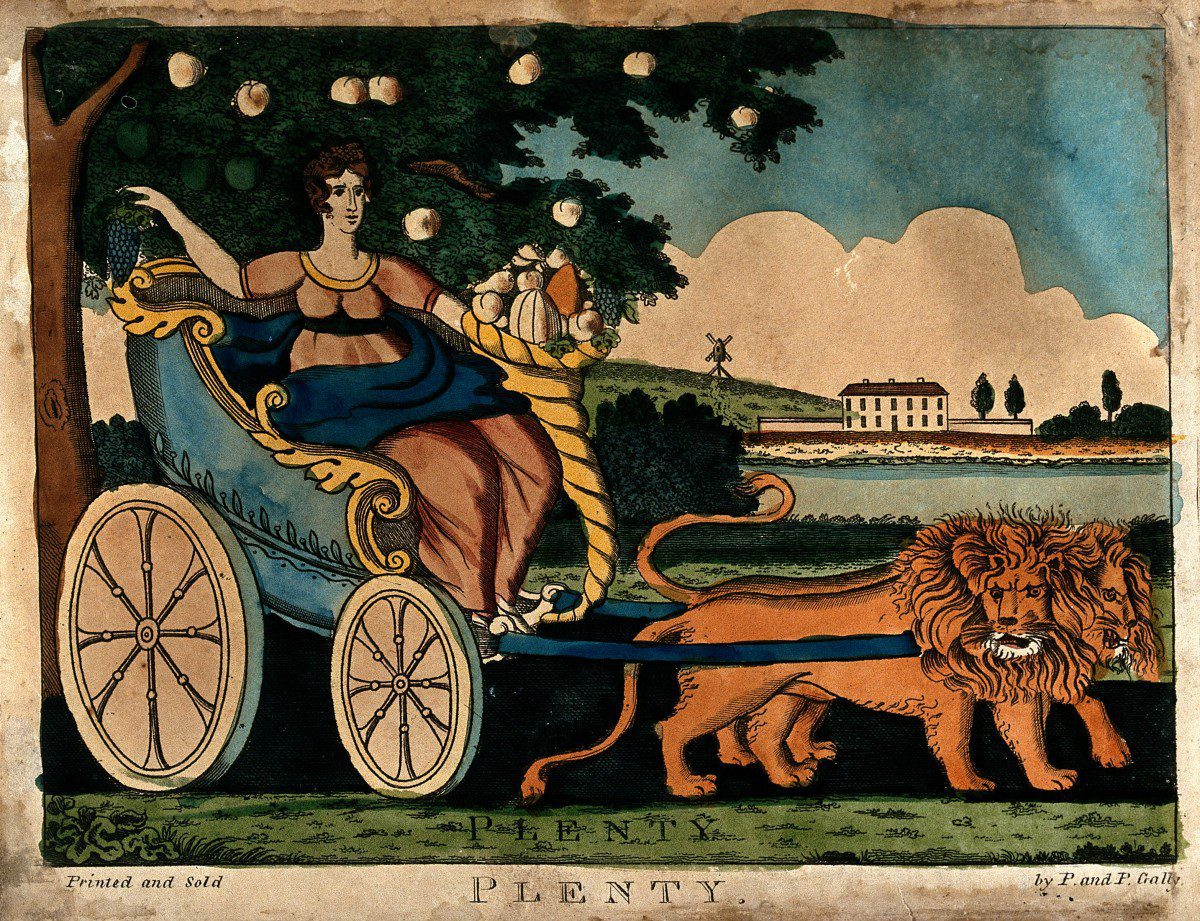 V0047996 An allegorical female is sitting in a chariot drawn by two l Credit: Wellcome Library, London. Wellcome Images images@wellcome.ac.uk http://wellcomeimages.org An allegorical female is sitting in a chariot drawn by two lions, she is holding a bunch of grapes and a cornucopia; representing Plenty. Coloured etching. Published: - Copyrighted work available under Creative Commons Attribution only licence CC BY 4.0 http://creativecommons.org/licenses/by/4.0/
