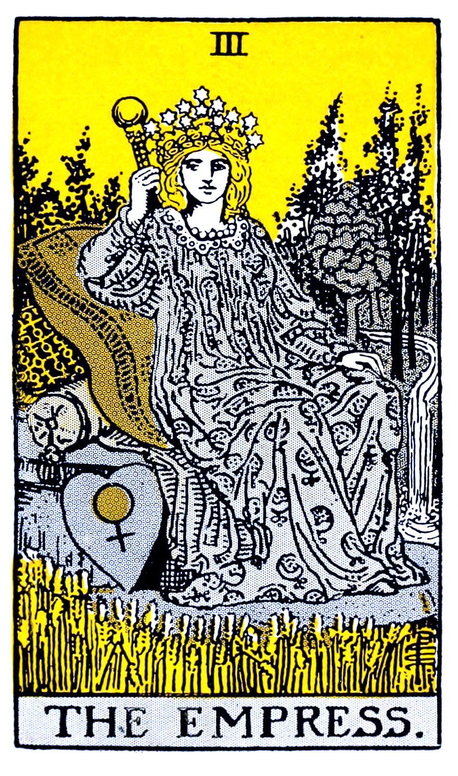 The Empress card in the Tarot printed in white and grey on a yellow background with black outlining. Seated on a cushioned throne, she wears a crown of stars and holds a scepter in her right hand. At her feet is a heart-shaped shield with the Venus or woman symbol on it.