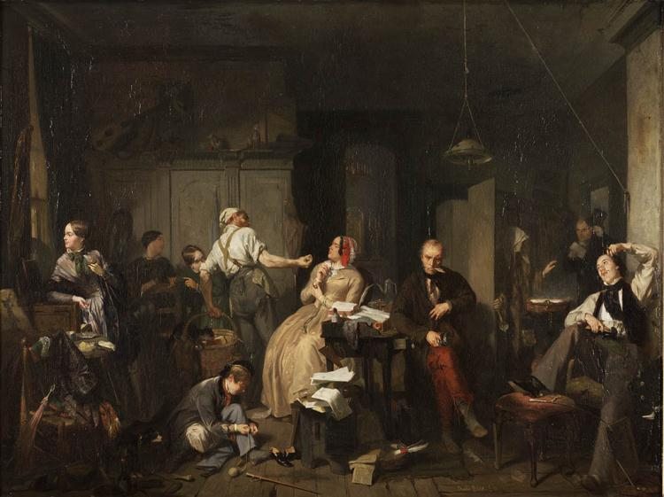 A painting of a parlor scene involving stereotyped images of both rich and poor people, 1848, The Netherlands.