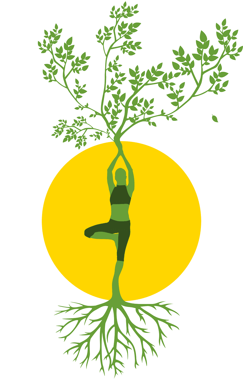 Woman in the mountain stance in yoga whose arms are branches and whose legs are roots