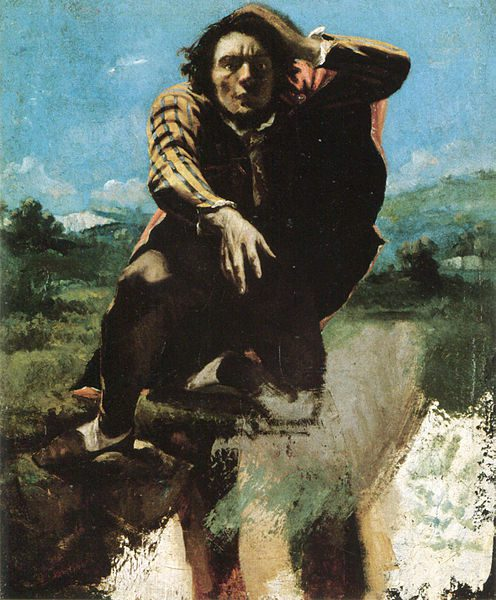 """""""The Man Made Mad with Fear,"""" a 19th-century painting by Gustave Courbet of a man with one hand on his head reaching toward the viewer against a blurry natural background."""