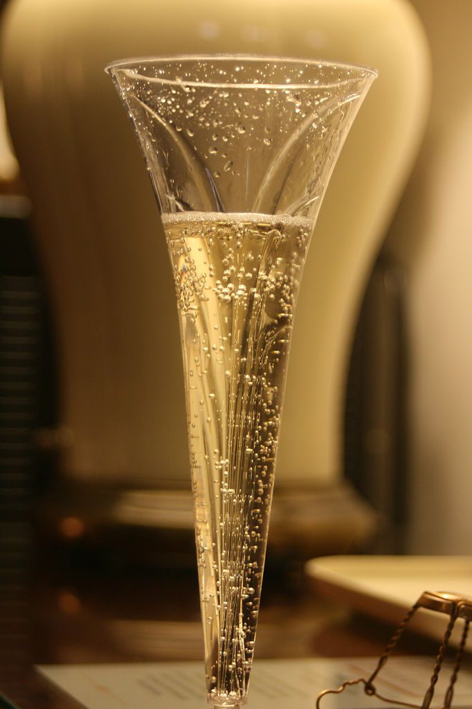 A flute glass of champagne.