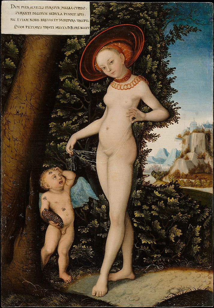16th century copy of Dutch master Lucas Cranach the Elder's image of Cupid stealing honey and getting stung, then lectured by his mother, Venus. This painting is in the Metropolitan Museum of Art, New York City.