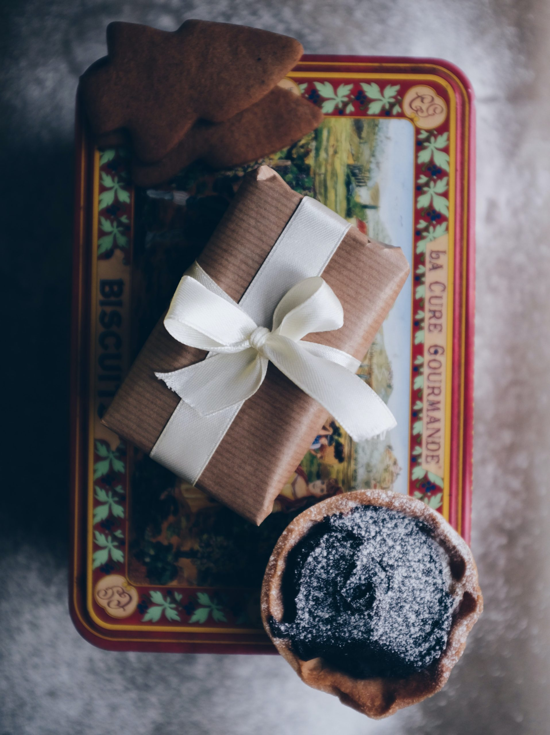 cozy gift box and baked goods in a brown and white theme